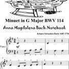 Minuet in G Major BWV 114 Anna Magdalena Beginner Piano Sheet Music