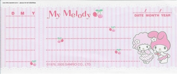 My Melody Cheque Memo Sheets