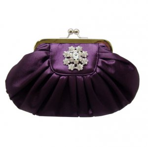 Purple Clutch with Rhinestone Flower