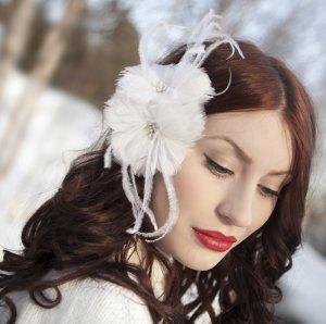 Double Bloom White Headpiece ,Bride