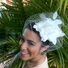 Elegant White Bridal Headpiece Fascinator
