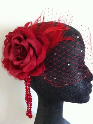 Elegant Red Birdcage Veil Fascinator Headpiece Wedding