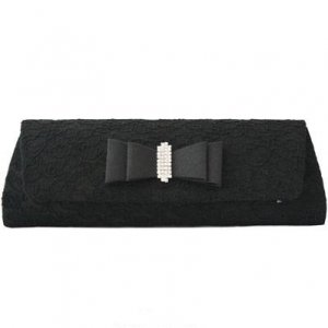 Black Lace And Satin Clutch with Rhinestones