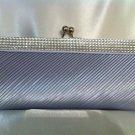 Silver Satin Bridal Clutch with Rhinestones