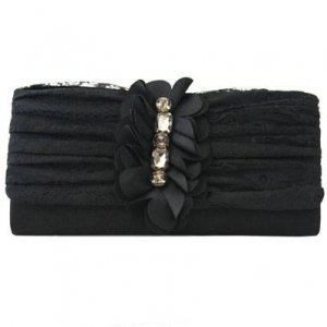 Black Satin And Black Lace Clutch with Rhinestones