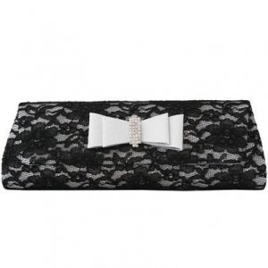 Black Lace And Silver Satin Clutch with Rhinestones