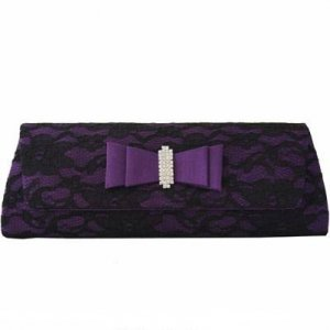 Black Lace And Purple Satin Clutch with Rhinestones