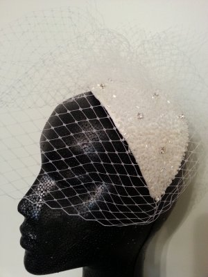 White Birdcage Veil Headpiece Fascinator