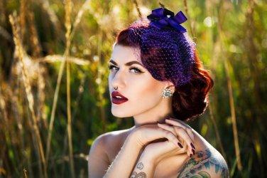 Gorgeous Purple & Black Fascinator