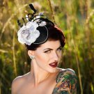 Elegant Grey & Black Headpiece,Fascinator,Wedding,Races