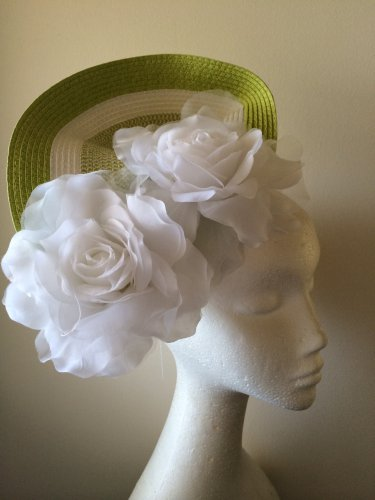 Green and White Fascinator Headpiece