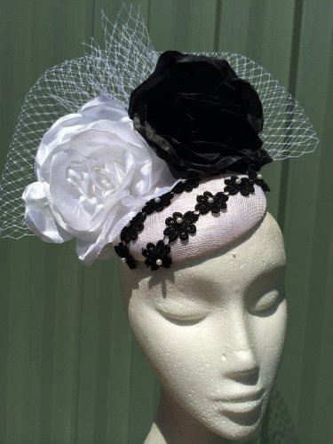 Black and White Fascinator Headpiece
