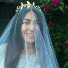 Gold leaf crown,Fascinator, limited edition,Bridal Headpiece,Emeraldhandmade