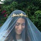 Gold Wedding Crown Woodland Queen Wedding Headpiece Leaves Flowers and Pearls, Wedding Hair, Tiara