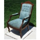 Eastlake Victorian Buttonback Walnut Upholstered Chair