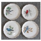 Vintage Georgian China 22KT.Gold Edged Birds of North America Collector Plates Set of 4.