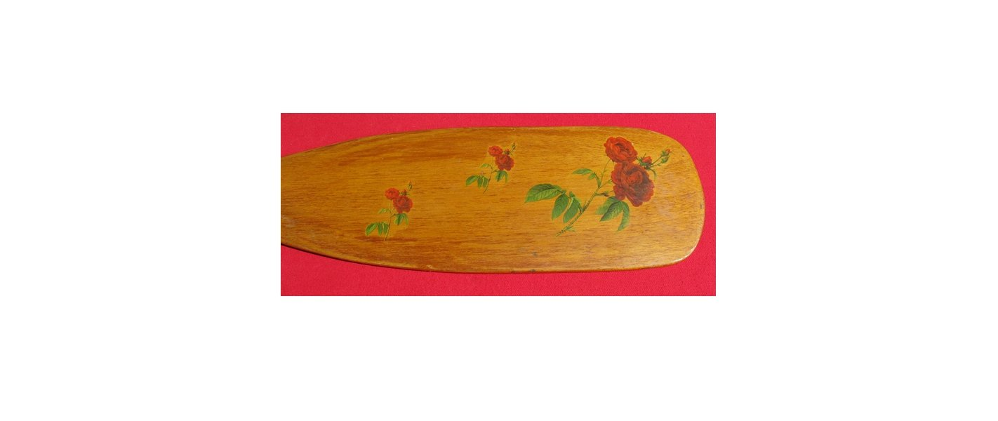 Vintage Solid Wood Rose Pattern/Picture Boat Paddle Decorative