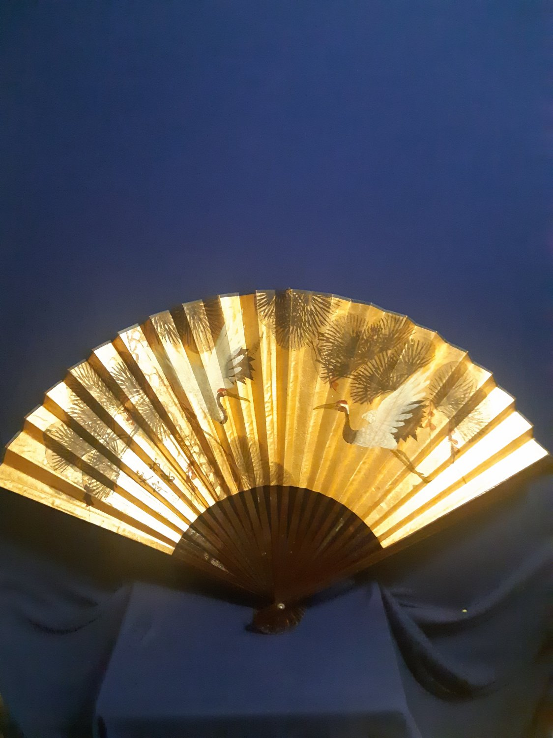 "Vintage Asian Chinese or Japanese Large 42"" Wide Hand Fan-Beautifully done"