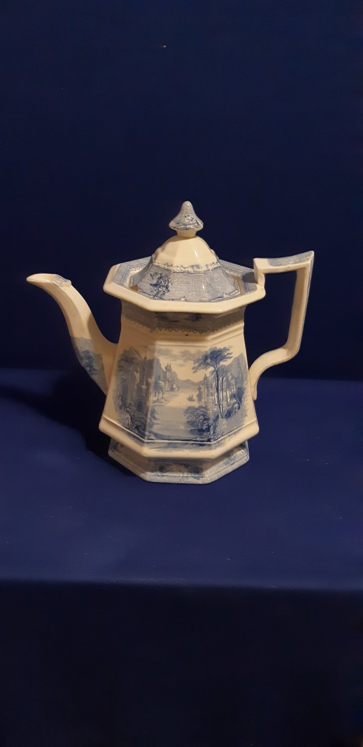 Antique Clementson Ironstone SIAM Teapot / Coffee Pot w-LID Blue Transferware- Circa. 1850