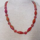 Unique Vintage Red Lucite Bead Necklace