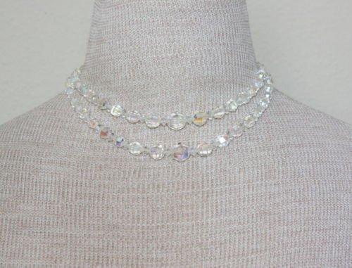 Vintage White Aurora Borealis Glass 2 Tiered Necklace