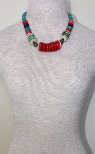 Vintage Vibrant Colorful Wooden Beads Chunky Necklace