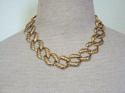 Vintage Chunky Gold Chain Statement Necklace