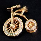 Vintage Unique Rhinestone Golden Bicycle Charm/ Pendant