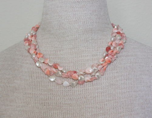 Vintage Pink & White Pearl Four Tiered Necklace