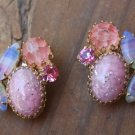 Vintage Pink Faux Opal & Lucite Clip On Earrings