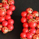 Vintage Designer Red Bead Clip On Earrings