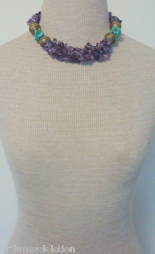 VTG Rebecca Collins Amethyst Turquoise Chunky Necklace