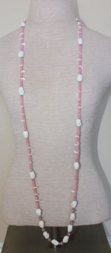 "Vintage Pink & White Glass Bead 55""Long Strand Necklace"