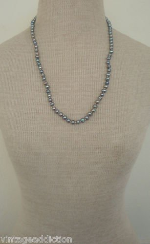 "Vintage Gray 6  MM Genuine Pearl 22""  Necklace"