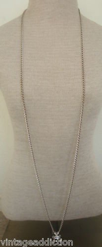 Vintage Silver Long 52 Chain Pendant Necklace By Avon