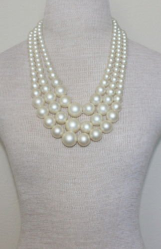 Vintage Chunky White Pearl 3 Tiered /Layered Necklace
