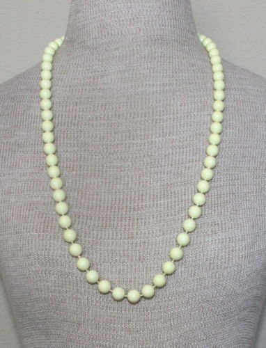 Vintage Lemon Yellow Bead Necklace 1960s