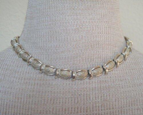 Vintage Coro Silver Chrome Link Choker Necklace