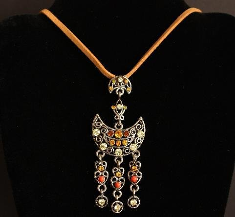 Vintage Moon Rhinestone  Necklace Pendant 1980s