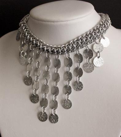 Glam Vintage Silver Bib Drop Statement Necklace Japan