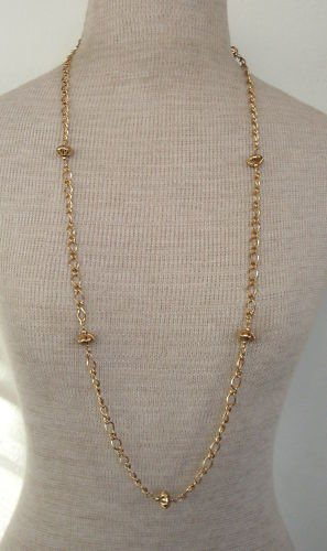 Vintage Goldtone Chain W/ Metal Stations Long  Necklace
