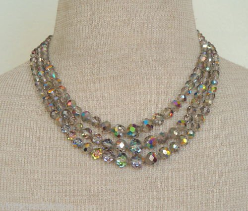 Vintage LAGUNA Aurora Borealis Glass 3 Strand Necklace