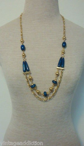 Vintage Blue Two Layer Necklace 1980s