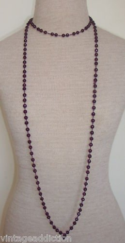 "Chic Vintage Purple Amethyst Glass 60"" Long Necklace"