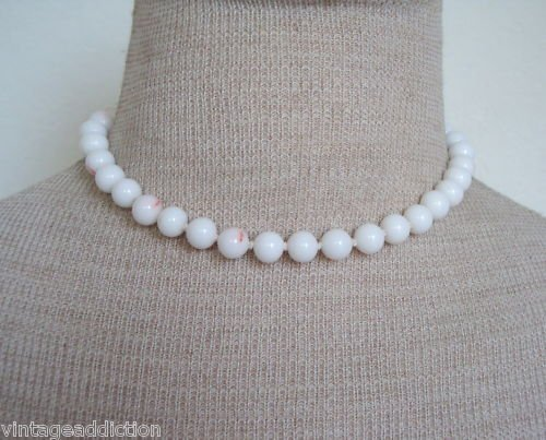 Unique Vintage White Marbled Glass Bead Necklace 1950s
