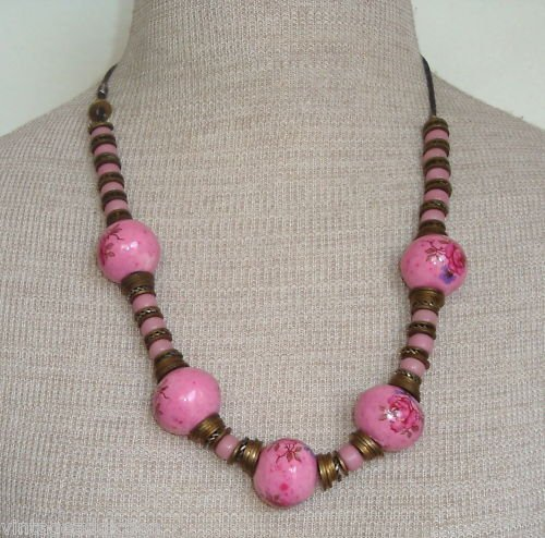 Vintage Art Deco Pink Hand Painted Glass Bead Necklace