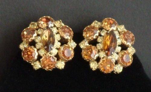 Vintage Brown Glass  Rhinestone Dressy Earrings