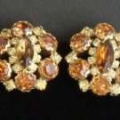 Vintage Brown Glass  Rhinestone Dressy Earrings