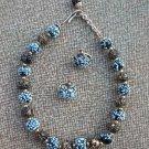 Vintage Unique Black & Blue Glass Necklace Earrings Set