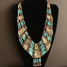 Vintage Deco  Green Cleopatra Egyptian Necklace